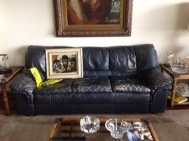Leather Sofa  Coffee Table and pair of Matching end Tables