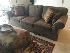 Olive/mossy green sofa