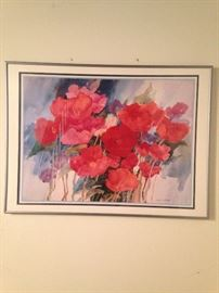 Artist Joan McKasson, on white matte and frame. Photo is distorted, frame is straight.