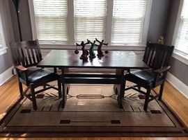"Stickley Keyhole Trestle dining table.  62""L x 36""W x 29 1/2""H"