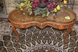 Coffee table, floral arrangement