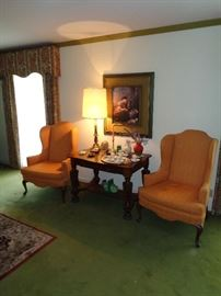 Great vintage pair of wing chairs and Oak library table