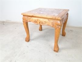 Carved Wood Stonetop Clawfoot End Table