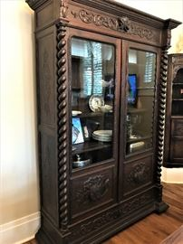 Large Antique English Barley Twist Display Cabinet. Pre-Sale Available.  88 inches H x 60 inches W by 18D.