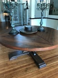 Gorgeous Armored Frog Entrance Table 73 inch round and 29 inch high.  All Furniture pieces are hand crafted and one of a kind.  This piece is reclaimed Pine from an old textile mill in Eufaula Alabama. Pre-Sale Available.