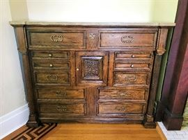 Lovely Tall Chest with Pretty Marble Top.  Could be used in Dining Area as Buffet or Bedroom.
