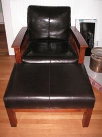 JC Penney Mission style leather chair/ottoman