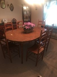 Dining room table, excellent condition, leaf can be removed. Chairs are sold