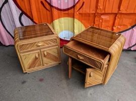 True Mid Century split bamboo side tables