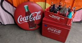 Coca Cola Button sign and cooler