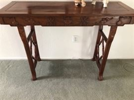 Antique Asian Alter/Console Table, Signed, no nails, no screws, excellent vintage craftmanship.  Hand carved, a beauty Rosewood.