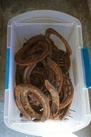 Two boxes of antique horse shoes