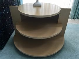 3. Blonde Wood 3 Tier Circular Side Table (36'' x 30'' x 23'')