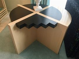 7. Blonde Wood & Black Laminate Modern Geometric Side Table (36'' x 23'')