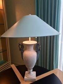 4. Pair of Stone Urn Table Lamps (28'')