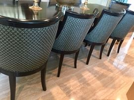 9. 10 Ebony Wood Upholstery Dining Chairs (22'' x 24'' x 36'')
