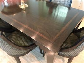 10. Knoll Jeffries Custom Oak Dining Table w/ Satinwood Inlay Espresso Finish (10' x 42'')
