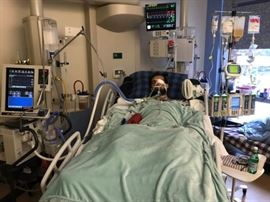 Joey Tempestilli in Neuro CCU, on a ventilator.