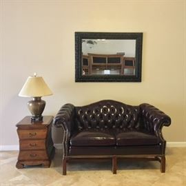 Leathercraft Brown Tufted Leather Love Seat