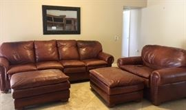 FR Leather Oversized Sofa, Love Seat, 2 Ottomans