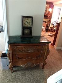 Marble top Bombay chest and clock