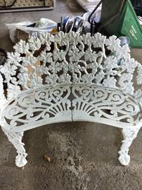 White iron bench