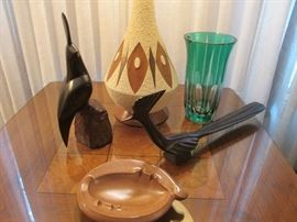 Carved ironwood quail and roadrunner