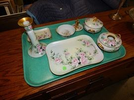 Limoges hand painted dresser set, dated 1916