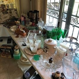 Lots of Vintage Glass and Kitchen