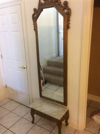 Tall mirror and table