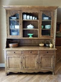 Large Hutch w/ 2 glass doors and hard carved floral detail73w x 22d x 90h