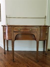 """Antique Buffet with brass rod, 2 drawers and 1 door60w x 28d x 38h (54"""" w/ rod)"""