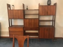 Teak Wall Unit...quite beautiful!  Bottom right has separators for albums. Key included for locking portions of the unit.