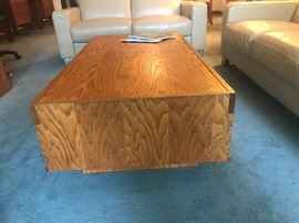 Large handmade coffee table with interesting area for cushions.