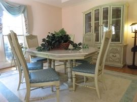 Stanley dining room suite with leaf; 6 chairs, china hutch and buffet (not shown) Table has a marble top that can be removed. Beautiful!