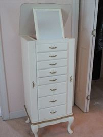 8 drawer French Providential jewelry chest with fold up mirror. Excellent condition!