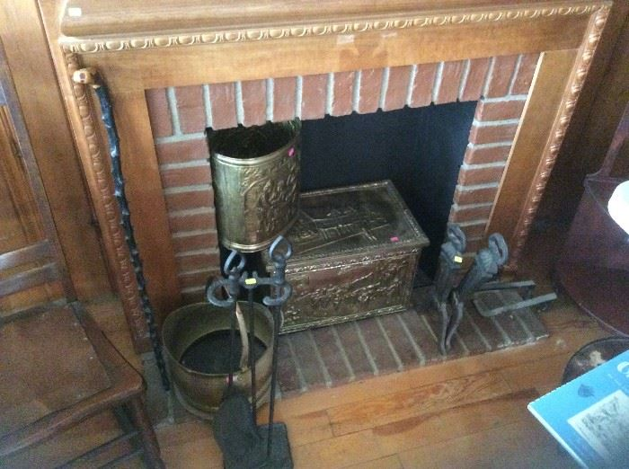 Tinder box and other hearth items, including faux hearth!