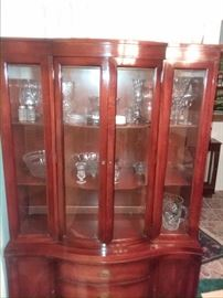 """The entire set goes, crytal and glass cabinet. Call 🏆Text  713-249-4777 to place your """"Silent Auction"""" bid and save the gas until you win this beautiful cabinet!!!"""