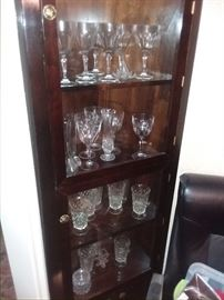 """Call 🏆Text  713-249-4777 to place your """"Silent Auction"""" bid and save the trip until you win this beautiful bar set of Crystal glass ware and corner cabinet!!!"""