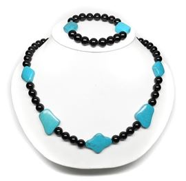 DTR JAY KING HIGH END TURQUOISE & BLACK AGATE SET