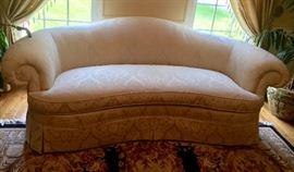 1. Hickory Chair Silk Damask Bow Back Roll Arm Sofa (94'' x 40'' x 36'')