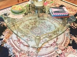 7. Bronze Base Scalloped & Beveled Glass Top Table by LeBarge (43'' x 43'' x 16'')                                                       6. Black and Cream Wool Handknotted center Medallion Floral Motif Rug (8'9'' x 12')