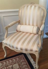 5. Pair of French Large Armchairs w/ Striped Cream Silk Upholstery (28'' x 23'' x 41'')