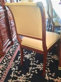 10. 6 Kindel Silk Stripe Neoclassical Side Dining Chairs & 2 Kindel Carved Back Neoclassical Arm Chairs         12. Wool Bordered Floral Area Rug (10' x 14')