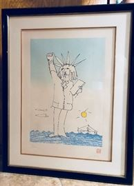 "The artwork of John Lennon. ""Power to the People Statue of Liberty"" by John Lennon. Signed. Only 300 prints made. Price: $2,000"