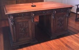 Heavily carved partner's desk