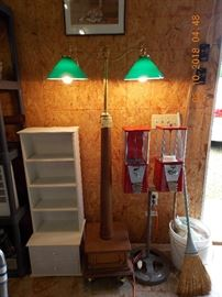 floor lamp with hidden storage box, double gumball machine