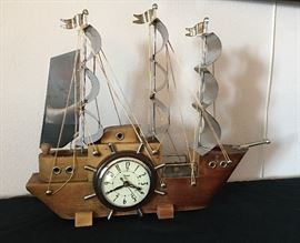 Vintage United Metal Co. Ship with Clock