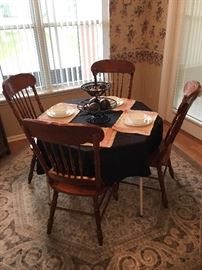 Dining chairs, Corel dishes & area rug