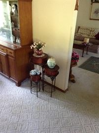 Nesting tables, China closet, and glassware.